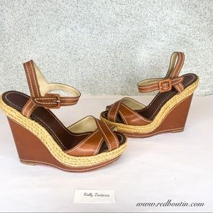 Christian Louboutin Brown Wedge Espadrille Sandals